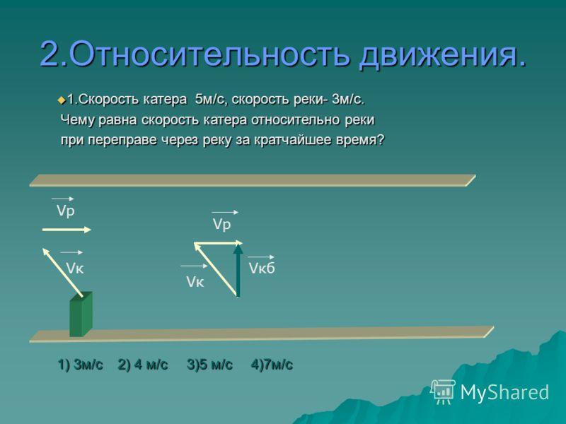 1.Относительность движения. 1.Скорость катера 4м/с, скорость реки- 3м/с. Чему равна скорость катера относительно реки при переправе через реку за кратчайшее время? 1.Скорость катера 4м/с, скорость реки- 3м/с. Чему равна скорость катера относительно р