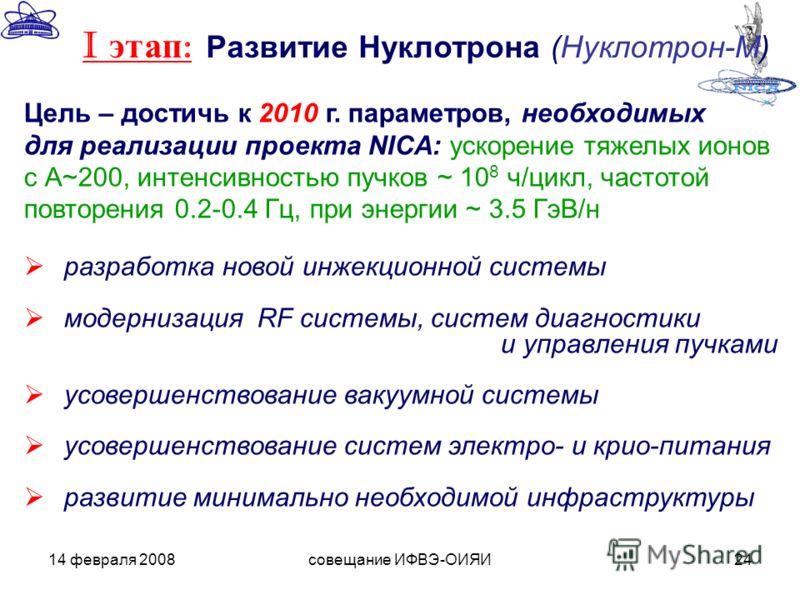 14 февраля 2008совещание ИФВЭ-ОИЯИ24 Цель – достичь к 2010 г. параметров, необходимых для реализации проекта NICA: ускорение тяжелых ионов с А~200, интенсивностью пучков ~ 10 8 ч/цикл, частотой повторения 0.2-0.4 Гц, при энергии ~ 3.5 ГэВ/н разработк