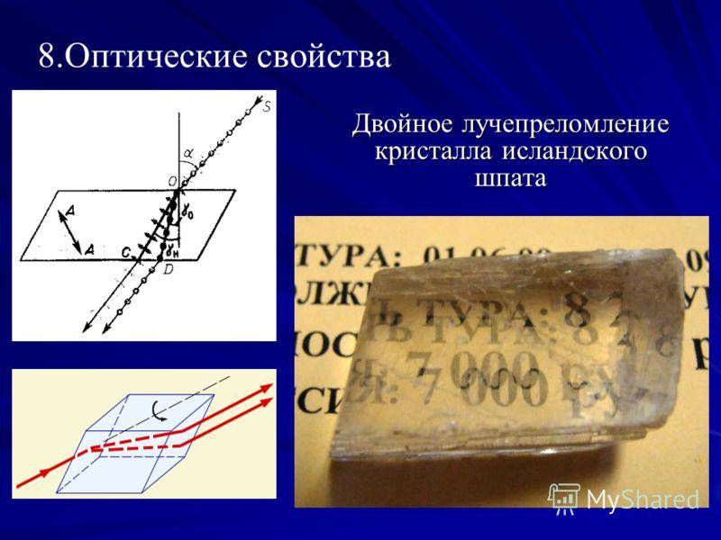 8.Оптические свойства Двойное лучепреломление кристалла исландского шпата
