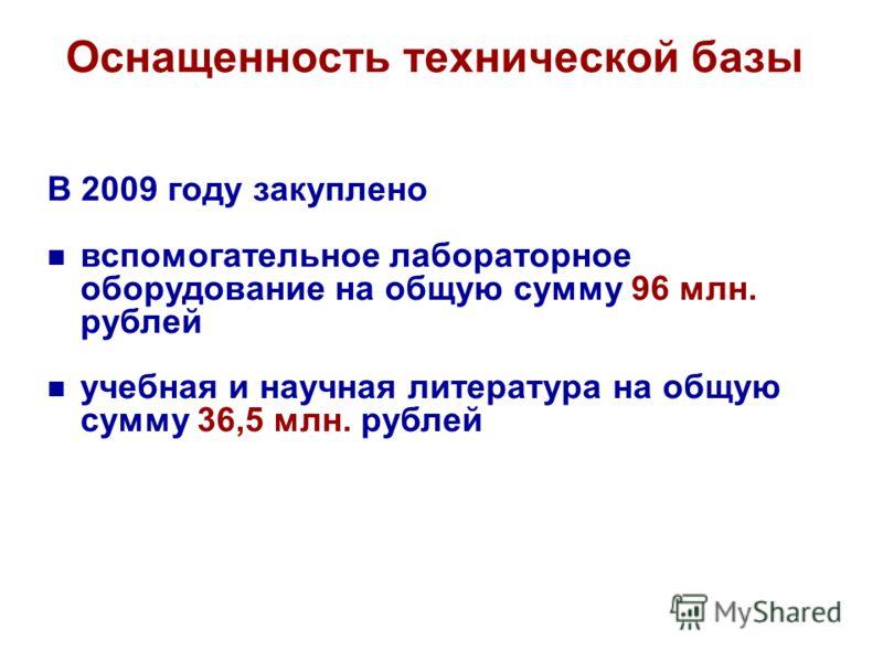 Оснащенность технической базы В 2009 году закуплено вспомогательное лабораторное оборудование на общую сумму 96 млн. рублей учебная и научная литература на общую сумму 36,5 млн. рублей