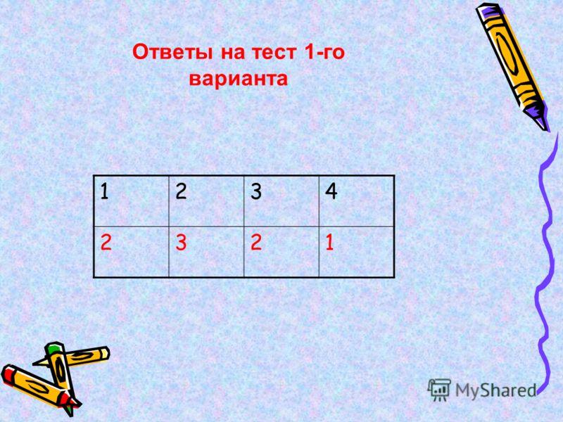 1234 2321 Ответы на тест 1-го варианта