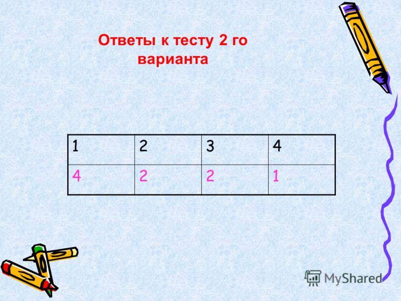1234 4221 Ответы к тесту 2 го варианта