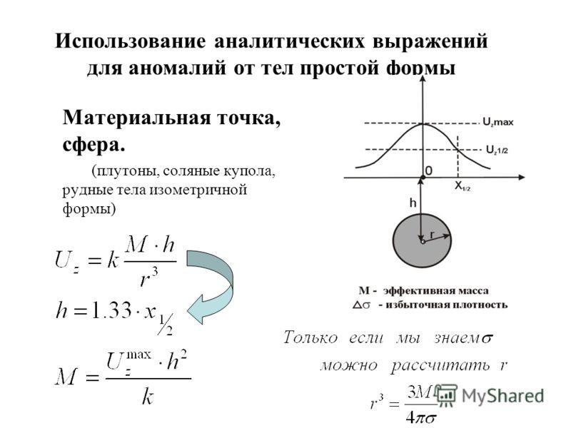 Использование аналитических выражений для аномалий от тел простой формы Материальная точка, сфера. (плутоны, соляные купола, рудные тела изометричной формы)