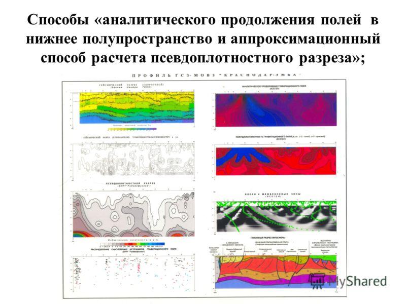 Способы «аналитического продолжения полей в нижнее полупространство и аппроксимационный способ расчета псевдоплотностного разреза»;