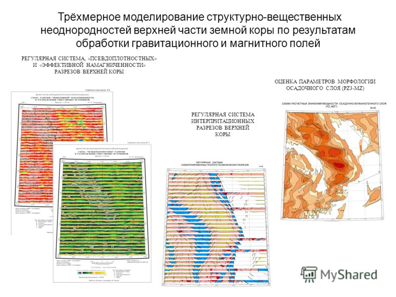 Трёхмерное моделирование структурно-вещественных неоднородностей верхней части земной коры по результатам обработки гравитационного и магнитного полей ОЦЕНКА ПАРАМЕТРОВ МОРФОЛОГИИ ОСАДОЧНОГО СЛОЯ (PZ3-MZ) РЕГУЛЯРНАЯ СИСТЕМА, «ПСЕВДОПЛОТНОСТНЫХ» И «ЭФ
