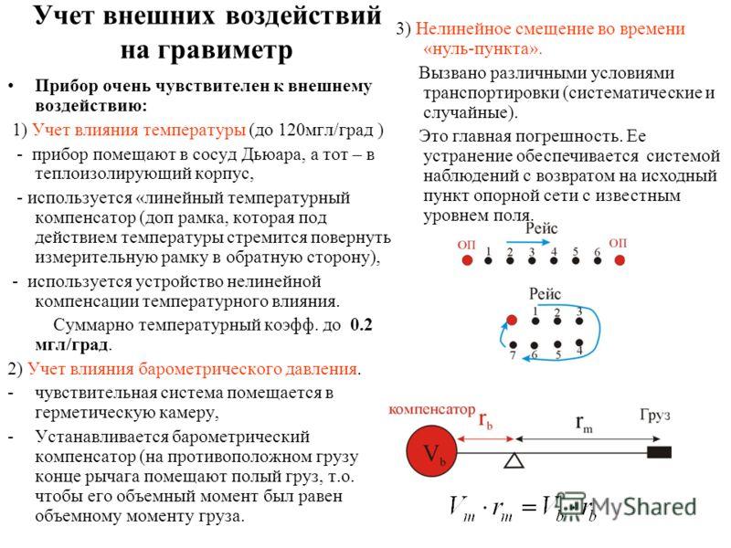 Учет внешних воздействий на гравиметр Прибор очень чувствителен к внешнему воздействию: 1) Учет влияния температуры (до 120мгл/град ) - прибор помещают в сосуд Дьюара, а тот – в теплоизолирующий корпус, - используется «линейный температурный компенса
