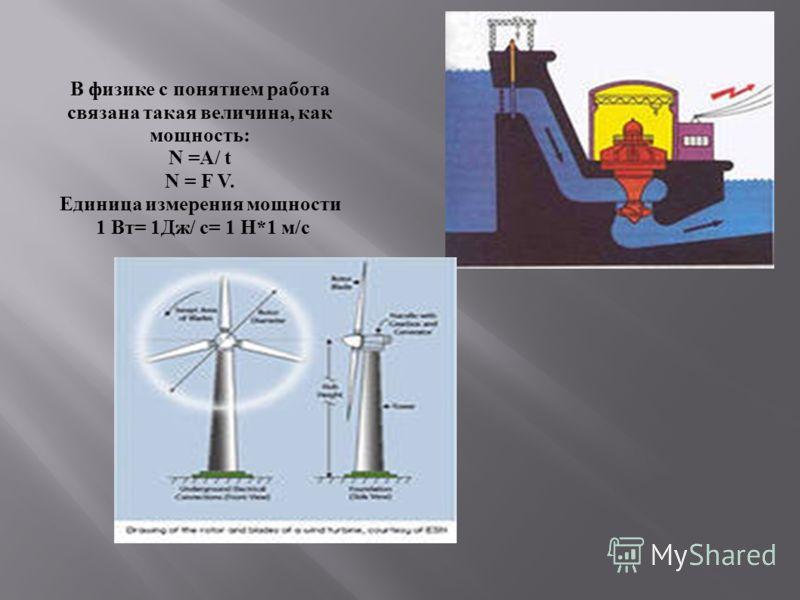 В физике с понятием работа связана такая величина, как мощность: N =A/ t N = F V. Единица измерения мощности 1 Вт= 1Дж/ c= 1 Н*1 м/с