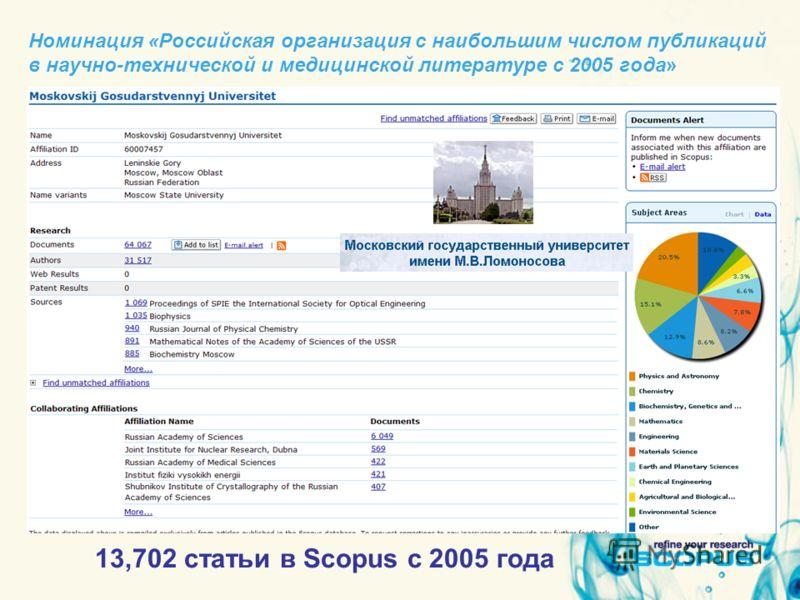 Номинация «Российская организация с наибольшим числом публикаций в научно-технической и медицинской литературе с 2005 года» 13,702 статьи в Scopus с 2005 года