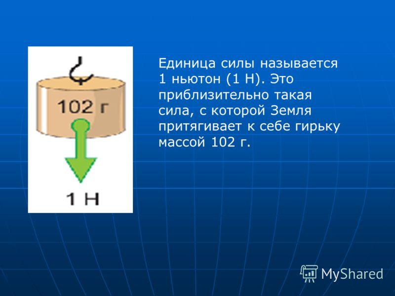 Единица силы называется 1 ньютон (1 Н). Это приблизительно такая сила, с которой Земля притягивает к себе гирьку массой 102 г.