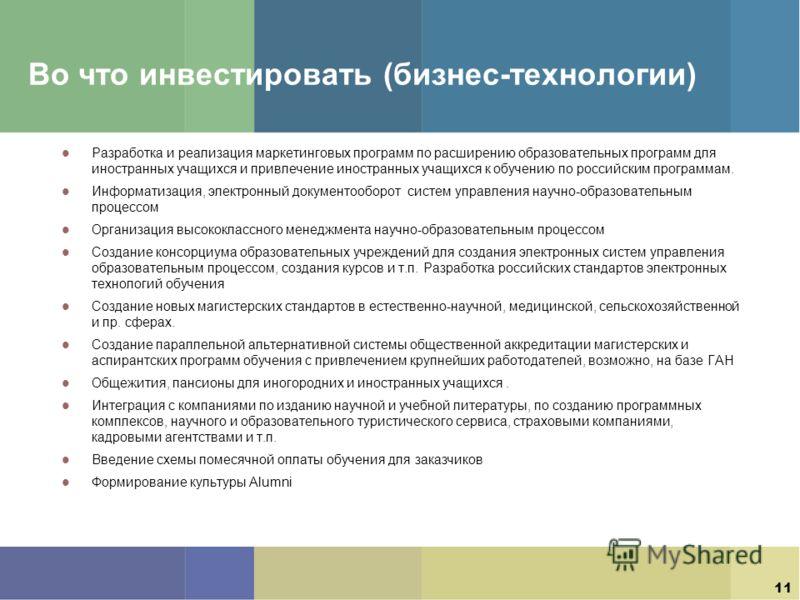 11 Во что инвестировать (бизнес-технологии) Разработка и реализация маркетинговых программ по расширению образовательных программ для иностранных учащихся и привлечение иностранных учащихся к обучению по российским программам. Информатизация, электро