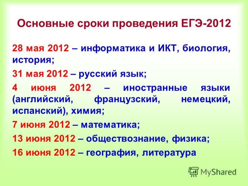 Основные сроки проведения ЕГЭ-2012 28 мая 2012 – информатика и ИКТ, биология, история; 31 мая 2012 – русский язык; 4 июня 2012 – иностранные языки (английский, французский, немецкий, испанский), химия; 7 июня 2012 – математика; 13 июня 2012 – обществ