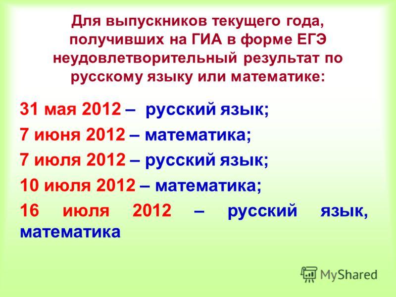 Для выпускников текущего года, получивших на ГИА в форме ЕГЭ неудовлетворительный результат по русскому языку или математике: 31 мая 2012 – русский язык; 7 июня 2012 – математика; 7 июля 2012 – русский язык; 10 июля 2012 – математика; 16 июля 2012 –