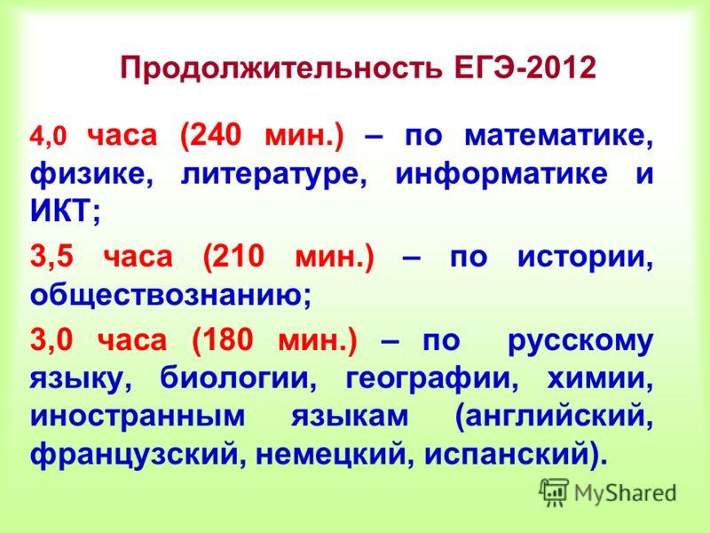 Продолжительность ЕГЭ-2012 4,0 часа (240 мин.) – по математике, физике, литературе, информатике и ИКТ; 3,5 часа (210 мин.) – по истории, обществознанию; 3,0 часа (180 мин.) – по русскому языку, биологии, географии, химии, иностранным языкам (английск