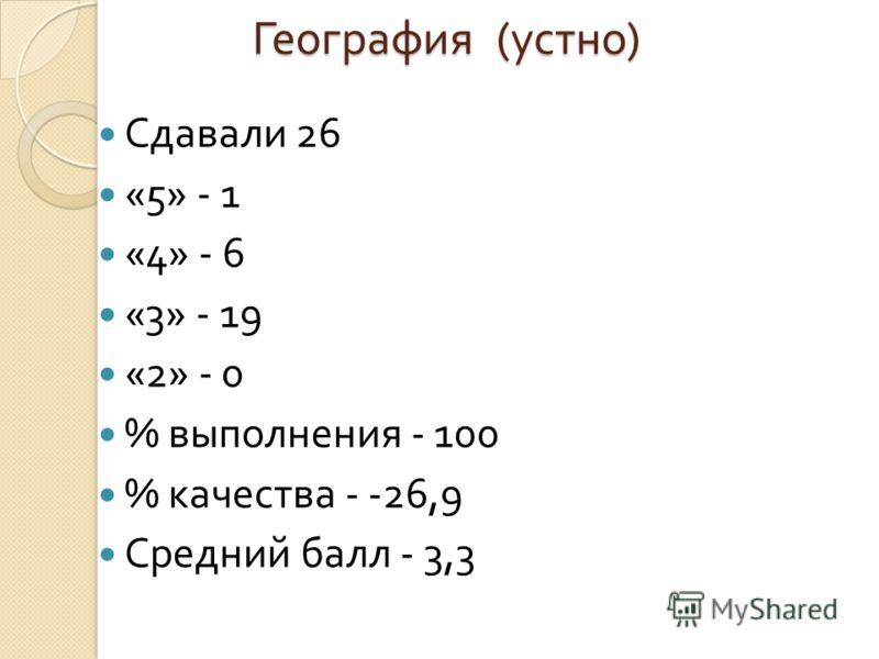 География ( устно ) Сдавали 26 «5» - 1 «4» - 6 «3» - 19 «2» - 0 % выполнения - 100 % качества - -26,9 Средний балл - 3,3