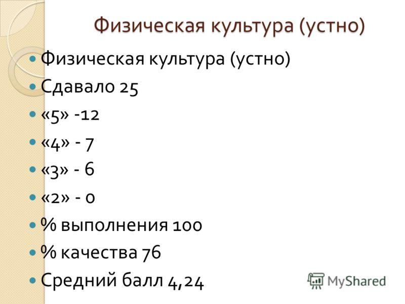 Физическая культура ( устно ) Сдавало 25 «5» -12 «4» - 7 «3» - 6 «2» - 0 % выполнения 100 % качества 76 Средний балл 4,24