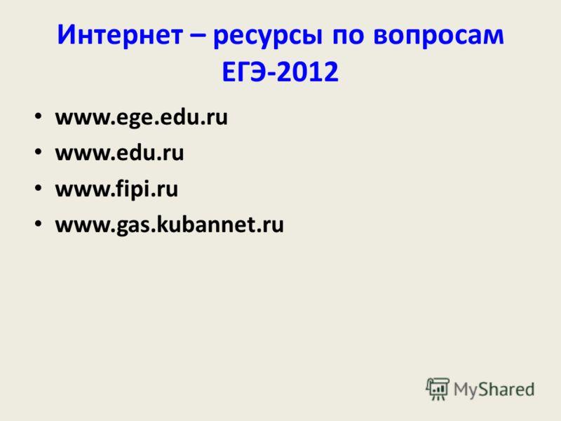 Интернет – ресурсы по вопросам ЕГЭ-2012 www.ege.edu.ru www.edu.ru www.fipi.ru www.gas.kubannet.ru