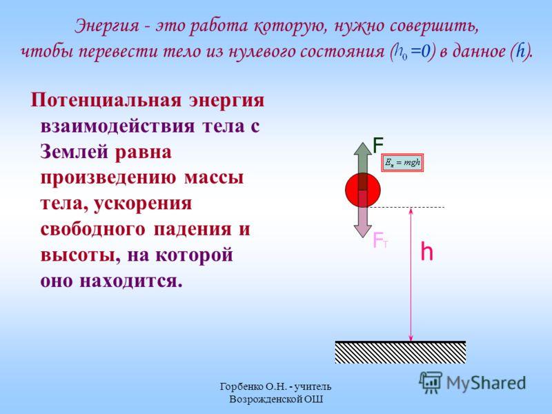 Горбенко О.Н. - учитель Возрожденской ОШ Энергия - это работа которую, нужно совершить, чтобы перевести тело из нулевого состояния ( =0) в данное (h). Потенциальная энергия взаимодействия тела с Землей равна произведению массы тела, ускорения свободн