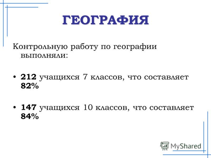 ГЕОГРАФИЯ Контрольную работу по географии выполняли: 212 учащихся 7 классов, что составляет 82% 147 учащихся 10 классов, что составляет 84%