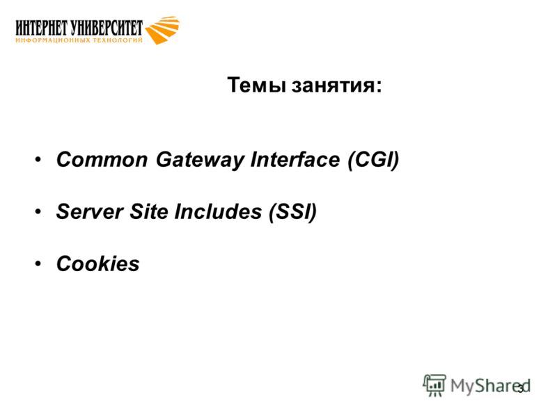 3 Темы занятия: Common Gateway Interface (CGI) Server Site Includes (SSI) Cookies