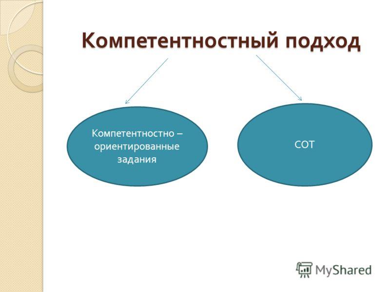 Компетентностный подход Компетентностно – ориентированные задания СОТ