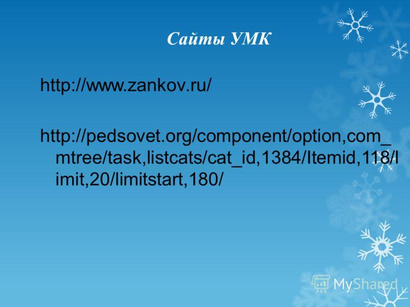 Сайты УМК http://www.zankov.ru/ http://pedsovet.org/component/option,com_ mtree/task,listcats/cat_id,1384/Itemid,118/l imit,20/limitstart,180/