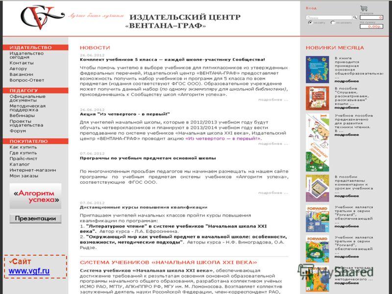 Сайт www.vgf.ru