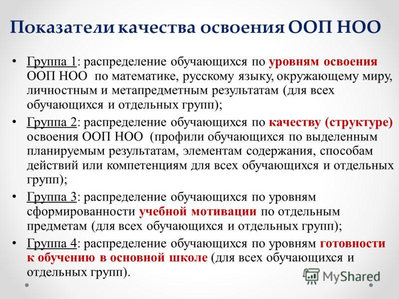 Показатели качества освоения ООП НОО Группа 1: распределение обучающихся по уровням освоения ООП НОО по математике, русскому языку, окружающему миру, личностным и метапредметным результатам (для всех обучающихся и отдельных групп); Группа 2: распреде
