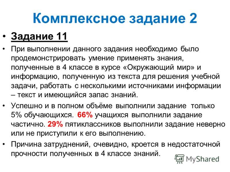 Комплексное задание 2 Задание 11 При выполнении данного задания необходимо было продемонстрировать умение применять знания, полученные в 4 классе в курсе «Окружающий мир» и информацию, полученную из текста для решения учебной задачи, работать с неско