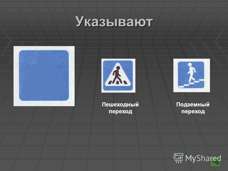 Указывают Пешеходный переход Подземный переход