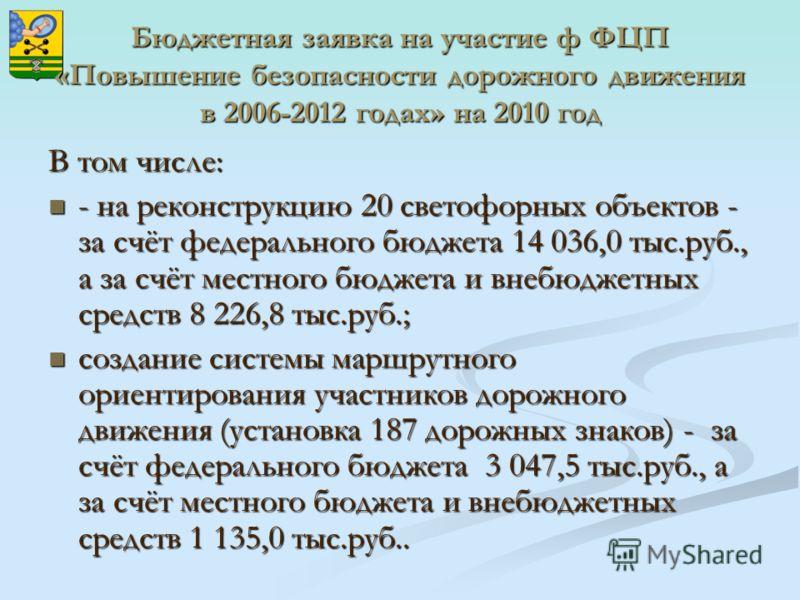 Бюджетная заявка на участие ф ФЦП «Повышение безопасности дорожного движения в 2006-2012 годах» на 2010 год В том числе: - на реконструкцию 20 светофорных объектов - за счёт федерального бюджета 14 036,0 тыс.руб., а за счёт местного бюджета и внебюдж