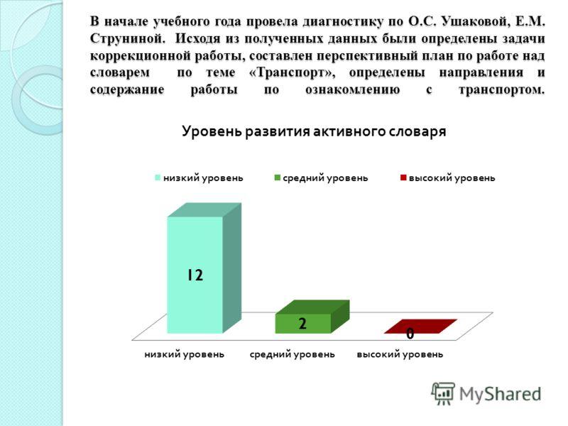 В начале учебного года провела диагностику по О.С. Ушаковой, Е.М. Струниной. Исходя из полученных данных были определены задачи коррекционной работы, составлен перспективный план по работе над словарем по теме «Транспорт», определены направления и со