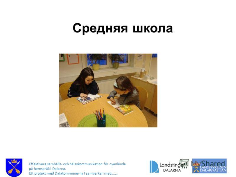 Effektivare samhälls- och hälsokommunikation för nyanlända på hemspråk i Dalarna. Ett projekt med Dalakommunerna i samverkan med……. Средняя школа