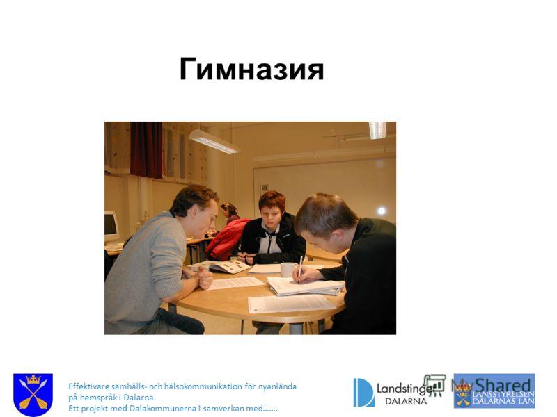 Effektivare samhälls- och hälsokommunikation för nyanlända på hemspråk i Dalarna. Ett projekt med Dalakommunerna i samverkan med……. Гимназия