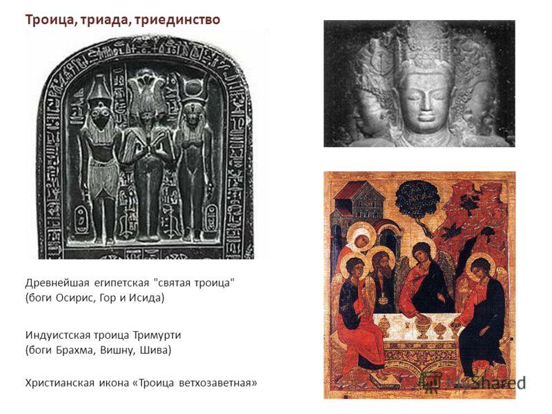 Древнейшая египетская святая троица (боги Осирис, Гор и Исида) Индуистская троица Тримурти (боги Брахма, Вишну, Шива) Христианская икона «Троица ветхозаветная» Троица, триада, триединство