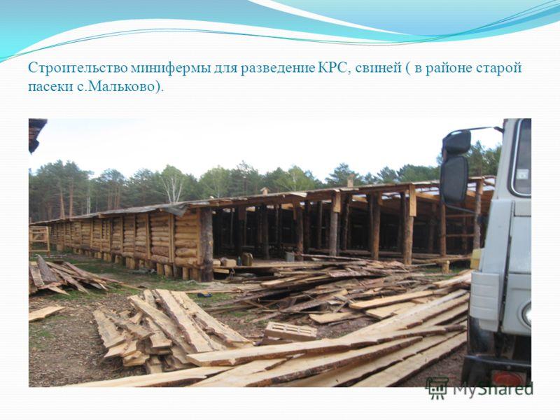 Строительство минифермы для разведение КРС, свиней ( в районе старой пасеки с.Мальково).