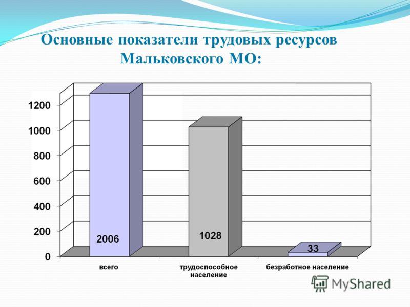 Основные показатели трудовых ресурсов Мальковского МО: