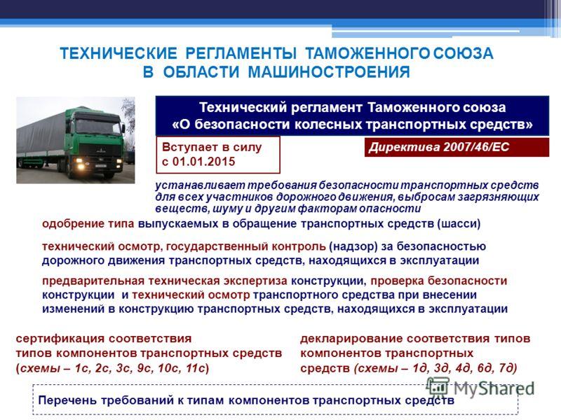 Технический регламент Таможенного союза «О безопасности колесных транспортных средств» устанавливает требования безопасности транспортных средств для всех участников дорожного движения, выбросам загрязняющих веществ, шуму и другим факторам опасности