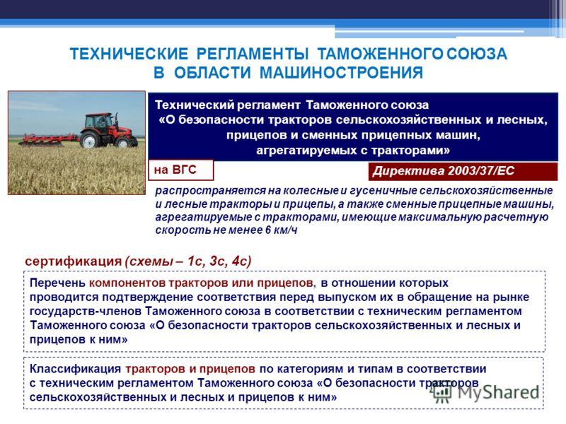 Технический регламент Таможенного союза «О безопасности тракторов сельскохозяйственных и лесных, прицепов и сменных прицепных машин, агрегатируемых с тракторами» Директива 2003/37/ЕС на ВГС распространяется на колесные и гусеничные сельскохозяйственн