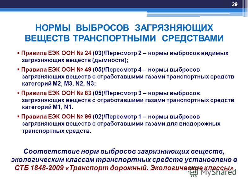 НОРМЫ ВЫБРОСОВ ЗАГРЯЗНЯЮЩИХ ВЕЩЕСТВ ТРАНСПОРТНЫМИ СРЕДСТВАМИ Правила ЕЭК ООН 24 (03)/Пересмотр 2 – нормы выбросов видимых загрязняющих веществ (дымности); Правила ЕЭК ООН 49 (05)/Пересмотр 4 – нормы выбросов загрязняющих веществ с отработавшими газам