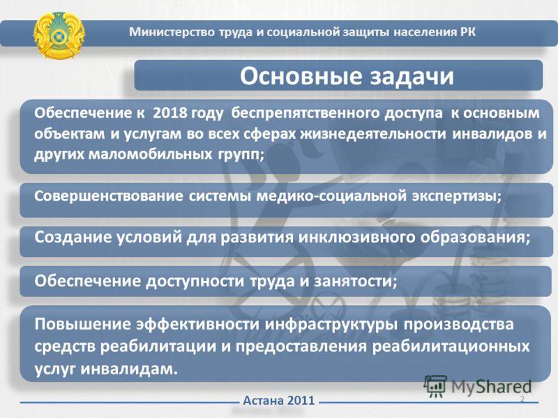 Астана 2011 Основные задачи Обеспечение к 2018 году беспрепятственного доступа к основным объектам и услугам во всех сферах жизнедеятельности инвалидов и других маломобильных групп; Совершенствование системы медико-социальной экспертизы; Создание усл