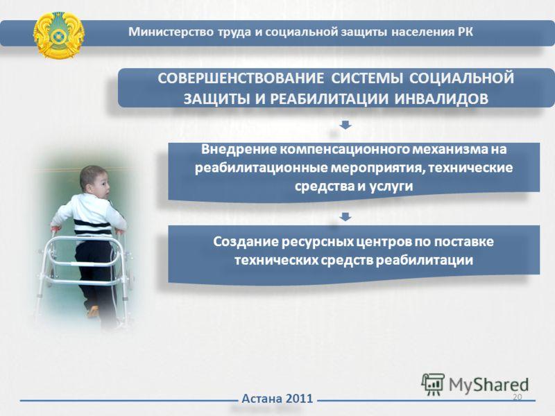 Астана 2011 Министерство труда и социальной защиты населения РК СОВЕРШЕНСТВОВАНИЕ СИСТЕМЫ СОЦИАЛЬНОЙ ЗАЩИТЫ И РЕАБИЛИТАЦИИ ИНВАЛИДОВ Внедрение компенсационного механизма на реабилитационные мероприятия, технические средства и услуги Создание ресурсны