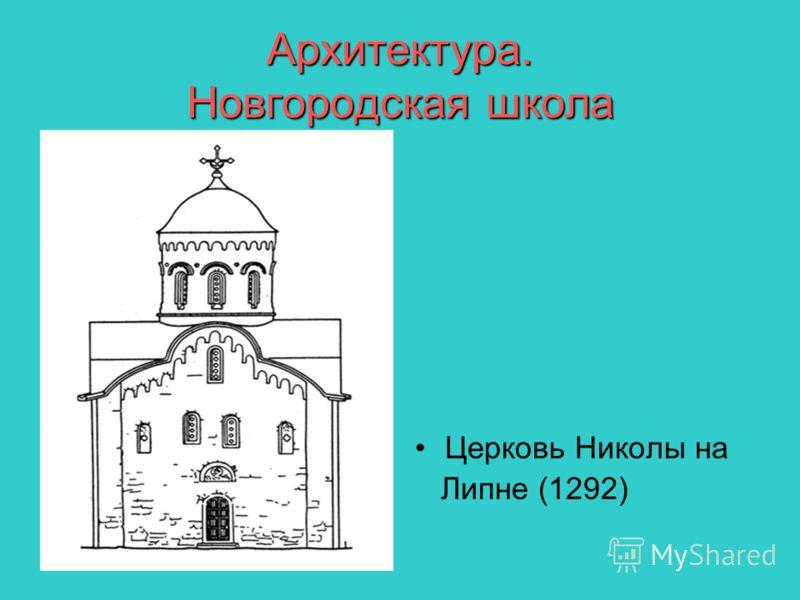 Архитектура. Новгородская школа Церковь Николы на Липне (1292)