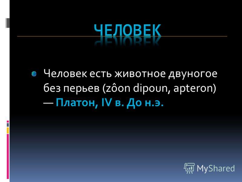 Человек есть животное двуногое без перьев (zôon dipoun, apteron) Платон, IV в. До н.э.