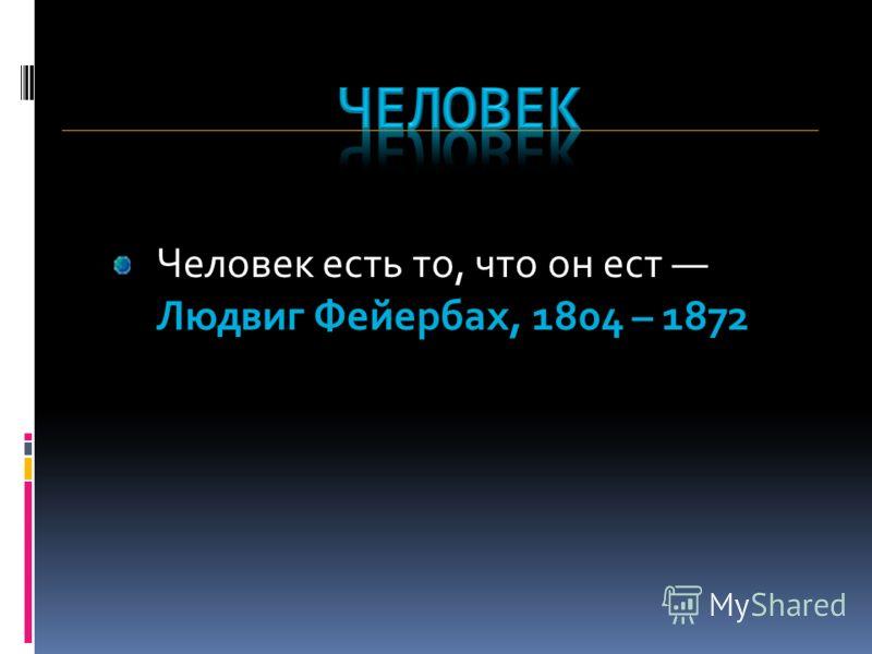 Человек есть то, что он ест Людвиг Фейербах, 1804 – 1872
