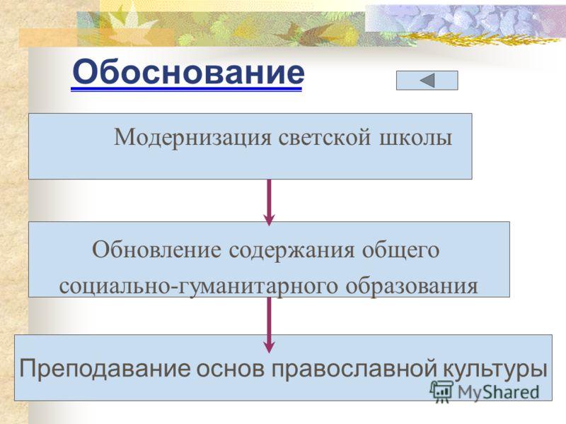 Обоснование Модернизация светской школы Обновление содержания общего социально-гуманитарного образования Преподавание основ православной культуры