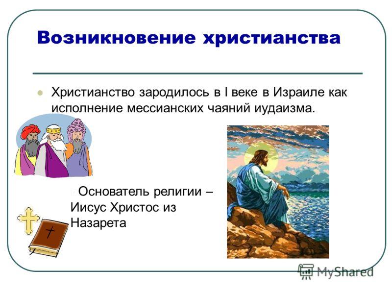 Возникновение христианства Христианство зародилось в I веке в Израиле как исполнение мессианских чаяний иудаизма. Основатель религии – Иисус Христос из Назарета