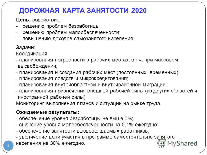 2 Цель: содействие: -решению проблем безработицы; -решению проблем малообеспеченности; -повышению доходов самозанятого населения; Задачи: Координация: - планирования потребности в рабочих местах, в т.ч. при массовом высвобождении; - планирования и со