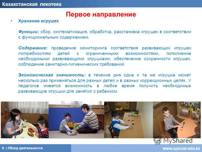 www.special-edu.kz Первое направление Хранение игрушек Функции: сбор, систематизация, обработка, расстановка игрушек в соответствии с функциональным содержанием. Содержание: проведение мониторинга соответствия развивающих игрушек потребностям детей с