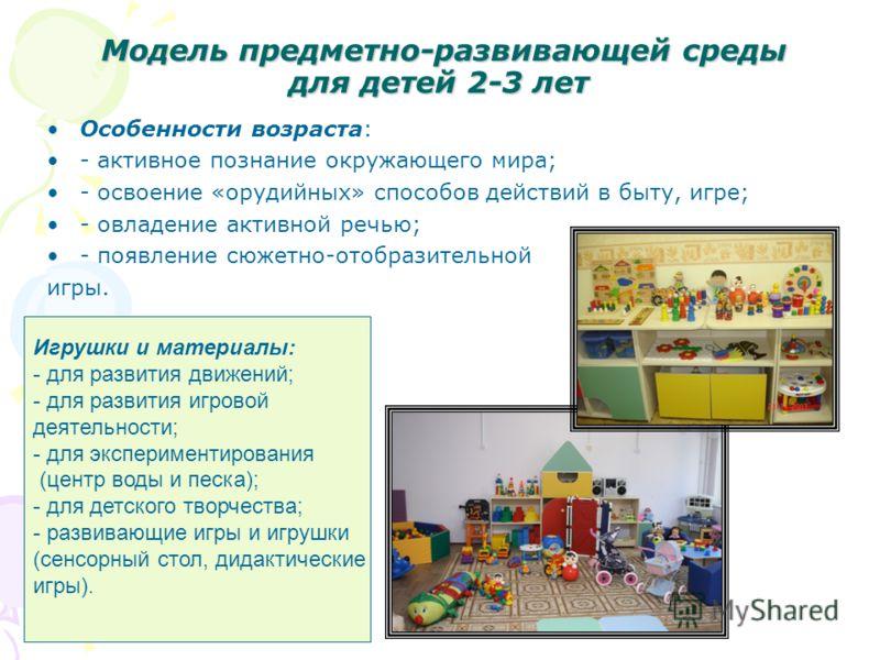 Модель предметно-развивающей среды для детей 2-3 лет Модель предметно-развивающей среды для детей 2-3 лет Особенности возраста: - активное познание окружающего мира; - освоение «орудийных» способов действий в быту, игре; - овладение активной речью; -
