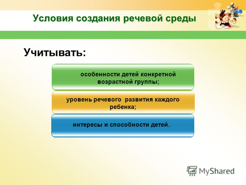 Условия создания речевой среды интересы и способности детей. Учитывать: особенности детей конкретной возрастной группы; уровень речевого развития каждого ребенка;